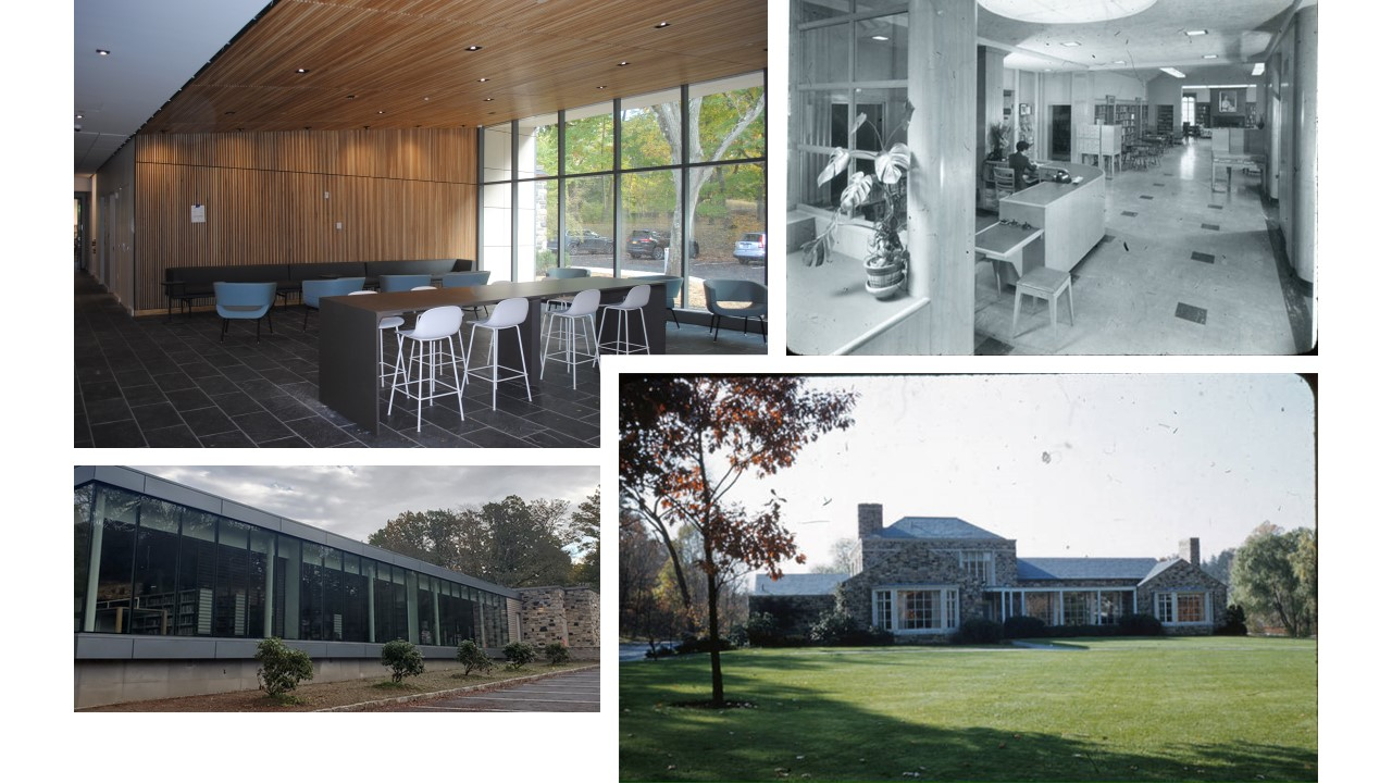 Collage header of new library building showing the interior of the café, an old black and white photo of the previous building and two exterior shots