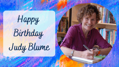 "The text ""Happy Birthday Judy Blume"" alongside a photo of the author."