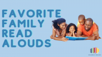 "A family reading next to the text ""Favorite Family Read Alouds"""