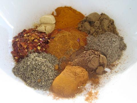 several spices in a bowl